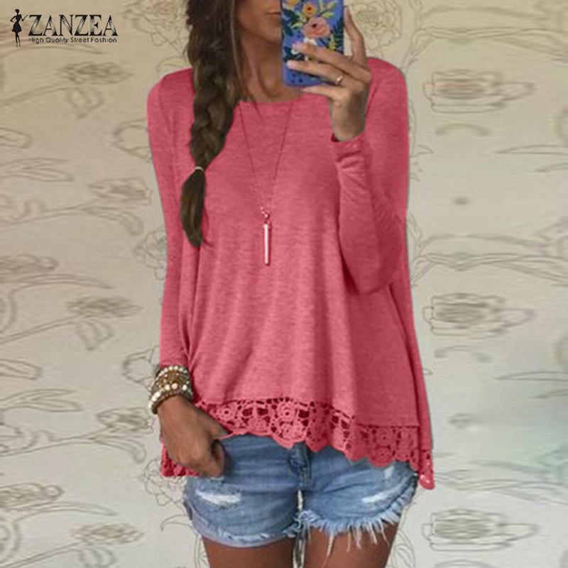 Fashion Crochet Tops Women's Lace Stiching Blouse ZANZEA 2020 Casual Long Sleeve Shirts Female Asymmetrical Blusas Plus Size 5XL Blouses & Shirts  - AliExpress