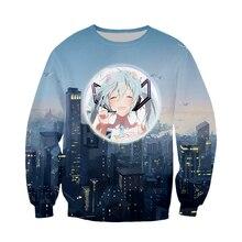 Sweatshirt Sportswear Hoodie Unisex Sweater Hatsune Miku Pattern 3D Print Cotton