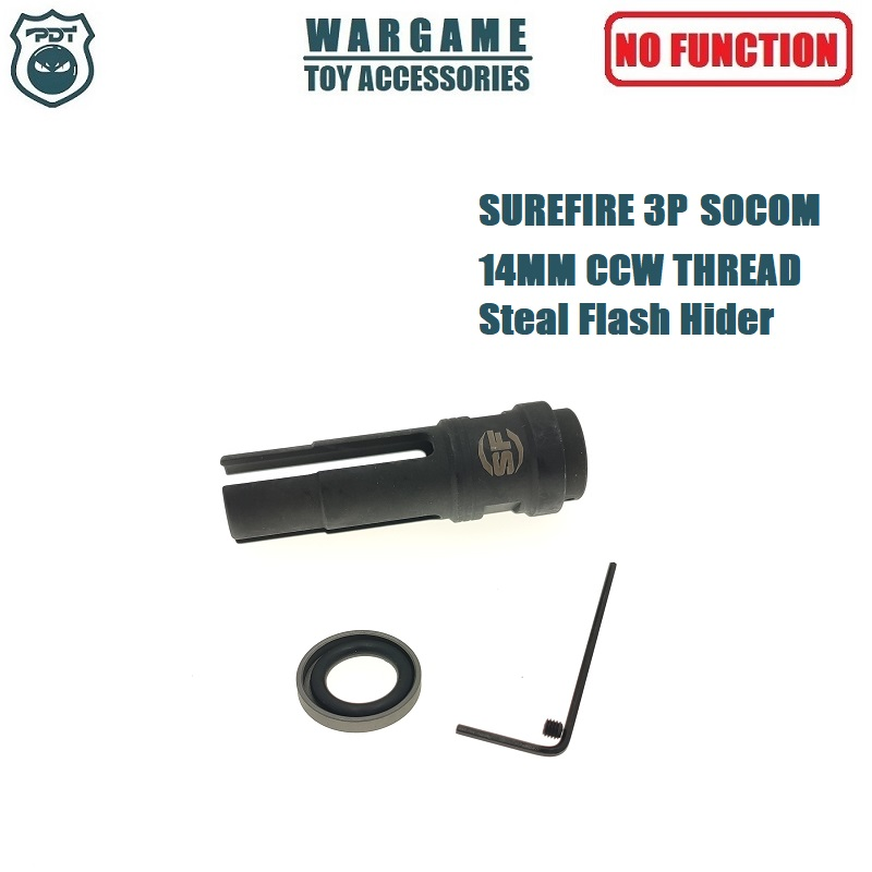 14MM CCW Thread Metal Steel SUREFIRE 3P Socom Flash Hider NO Function Muzzle Device For Toy Gel Ball Blaster AEG Airsoft