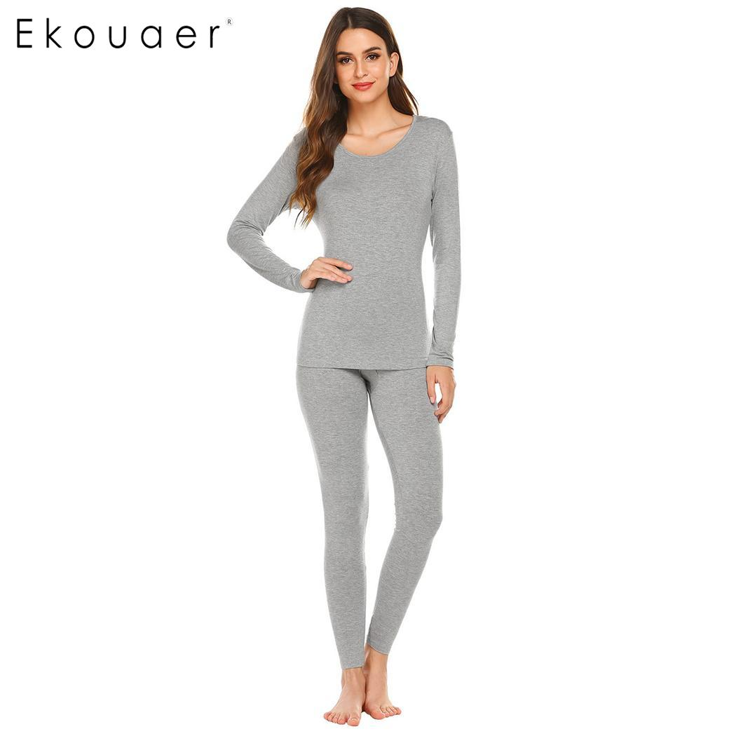 Ekouaer Women Thermal Underwear Slim Solid Long Johns O Neck Soft Top High Waist Long Pants Winter Autumn Bottom Sleepwear Set