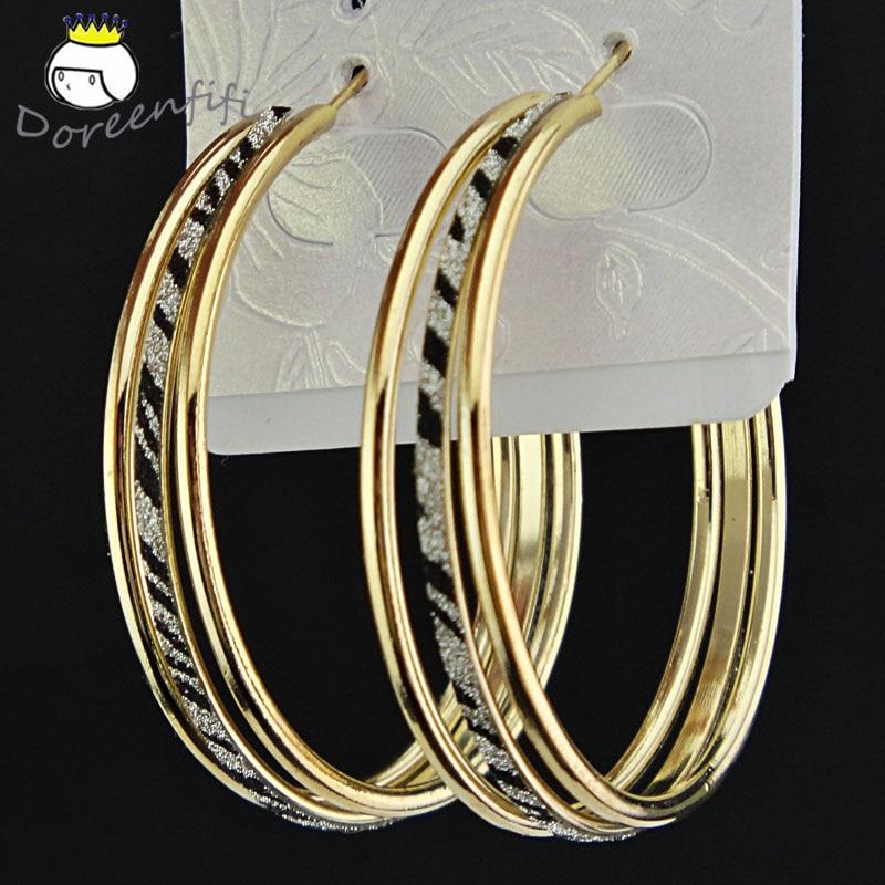 Лидер продаж, модные женские серьги-кольца с принтом зебры из матового серебра, большие вечерние ювелирные изделия, женские серьги в подарок - Окраска металла: Double