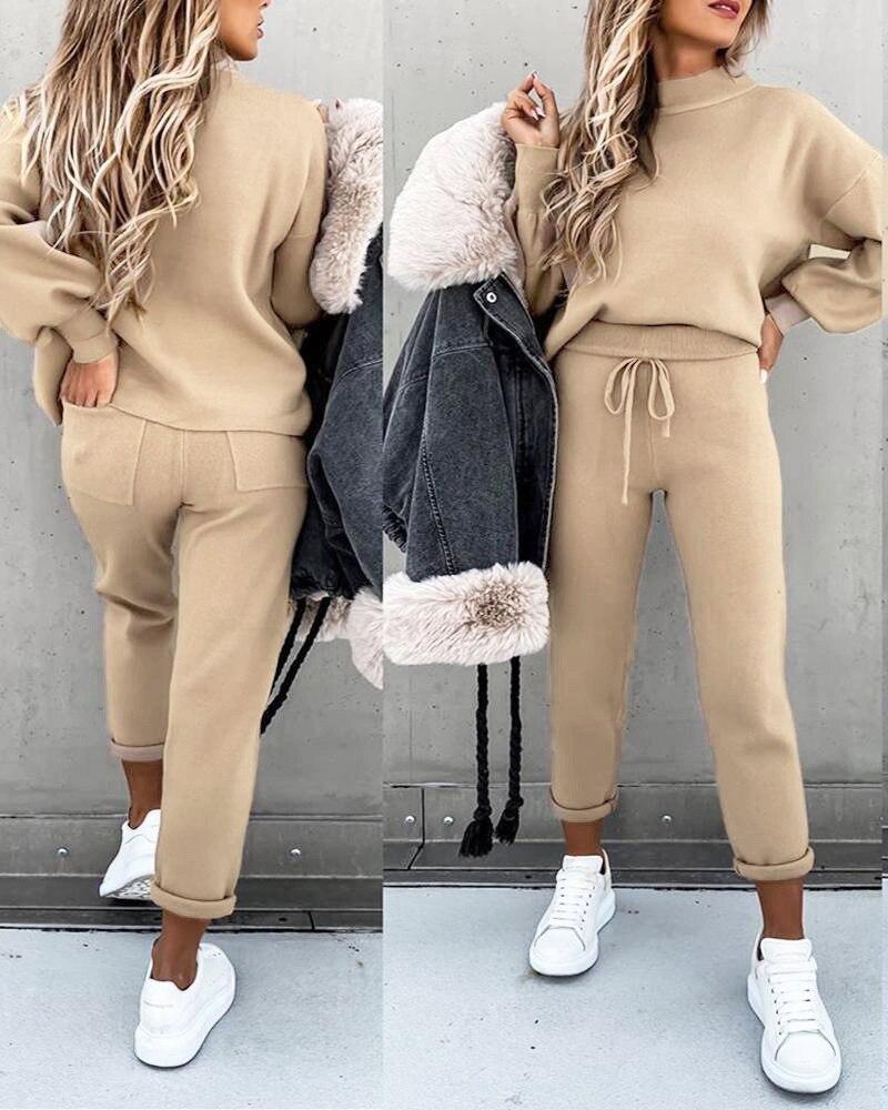 Cep pantolon rahat iki parçalı Set sonbahar ve kış kazak kadınlar 2020 balıkçı yaka uzun kollu eğlence takım elbise kazak pamuk