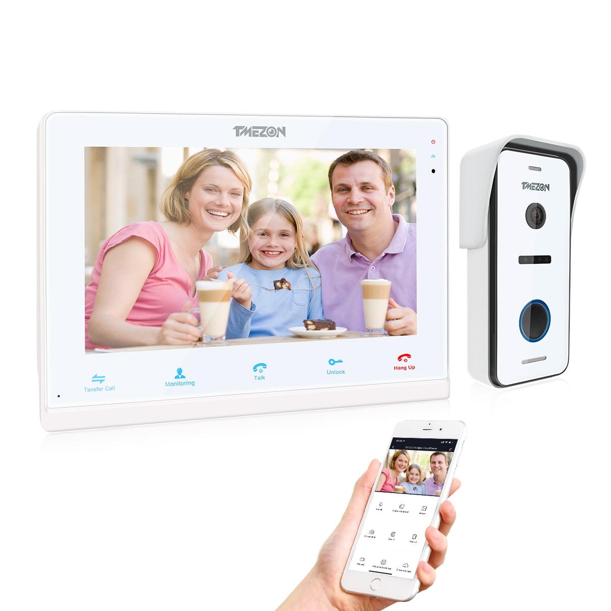 TMEZON Wifi IP Vid/éo Interphone Visiophone,10 Pouce IP Moniteur avec 3*7/'/'Analog Moniteur et 720P Sonnette de Cam/éra Filaire Vision Nocturne,Parler,D/éverrouillage /à distance,Surveiller via Smartphone