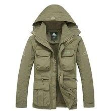 Мужская тактическая куртка 2 в 1 XXXL в стиле милитари, водонепроницаемая ветровка с несколькими карманами и капюшоном, осень 2020