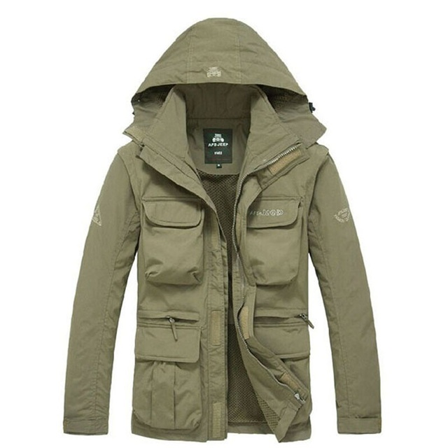 Men Tactical Jacket Autumn Quick Dry 2 in 1 XXXL Military Style Army Coat Male 2020 Multi Pockets Hooded Windbreaker Waterproof