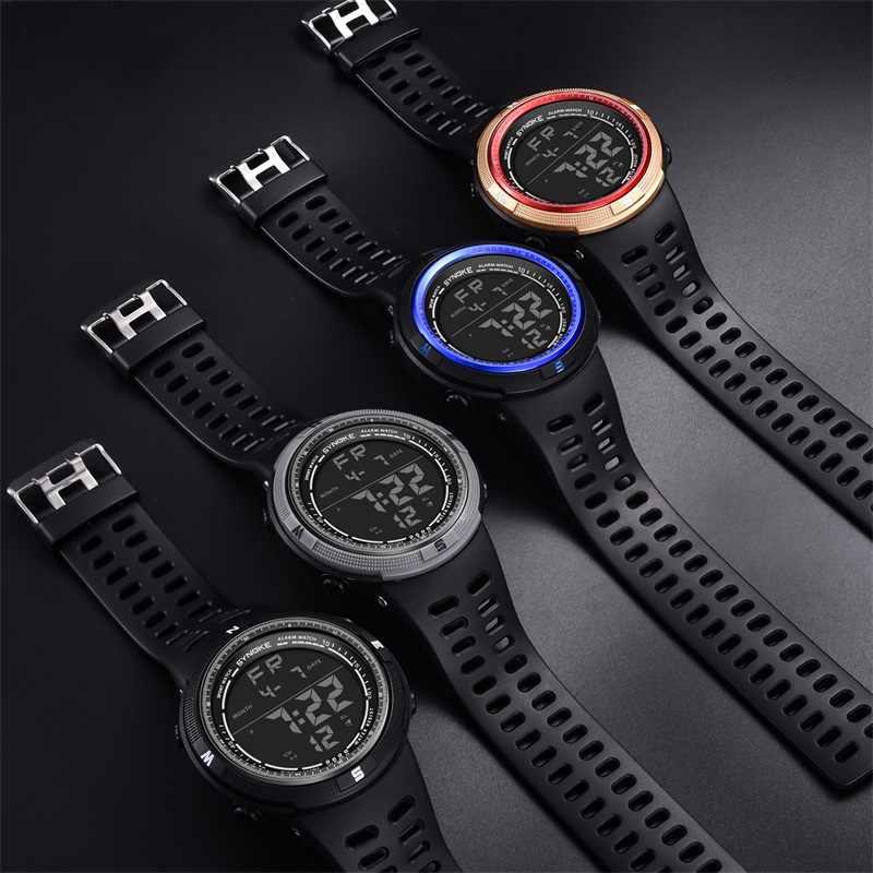 Reloj de pulsera SYNOKE para hombres, reloj luminoso Digital impermeable para deportes, reloj electrónico informal de moda, reloj Led multifunción