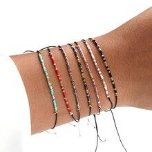 Горячая Распродажа 7 видов стилей Miyuki тонкий браслет из бисера ручной работы Плетеные браслеты пара Регулируемый браслет с бусинами для женщин Лето Простой