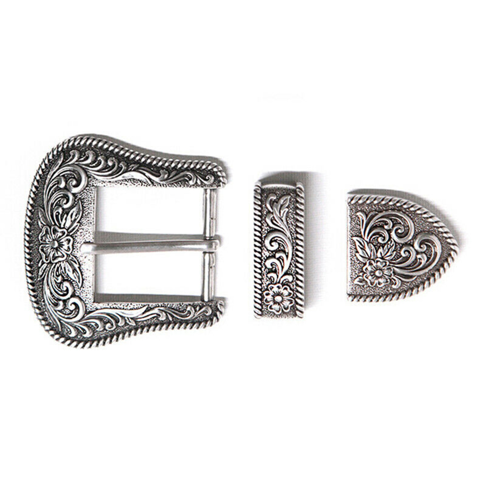 Western Retro Floral Engraved Antique Belt Buckle Set 3pcs Fits 38mm Belt Decor TH36