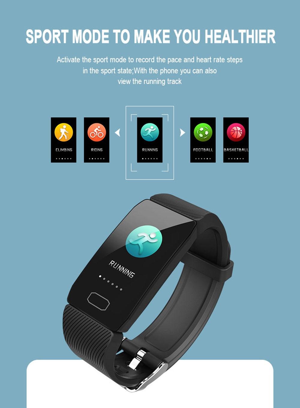 H3a42318b2e63411c9f55eb92a83f4eedf Fitness Bracelet Blood Pressure 1.14'' Screen Fitness Tracker Smart Watch Waterproof Smart Wristband Weather Display Women Men