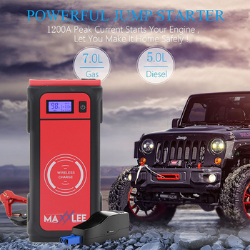 800A Peak Current Car Jump Starter Wireless Charging Battery Booster Power Station Bank WIth DC Output And Dual USB 12000mAh image