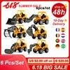 6 Teile/satz Fahrzeug Lkw Auto Modell Kunststoff Diecast Bau Bulldozer Engineering Modell Spielzeug Autos für Kinder Kinder Jungen Geschenk