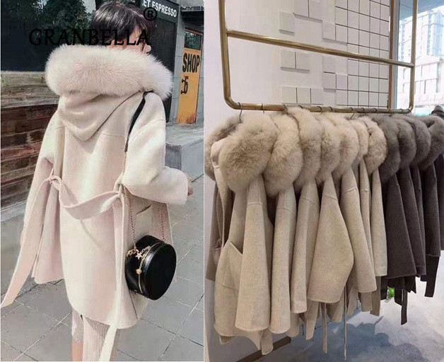 Womens 100/% Mink Cashmere Fur Coat Parka Jacket Belt Outwear Winter Long Trench