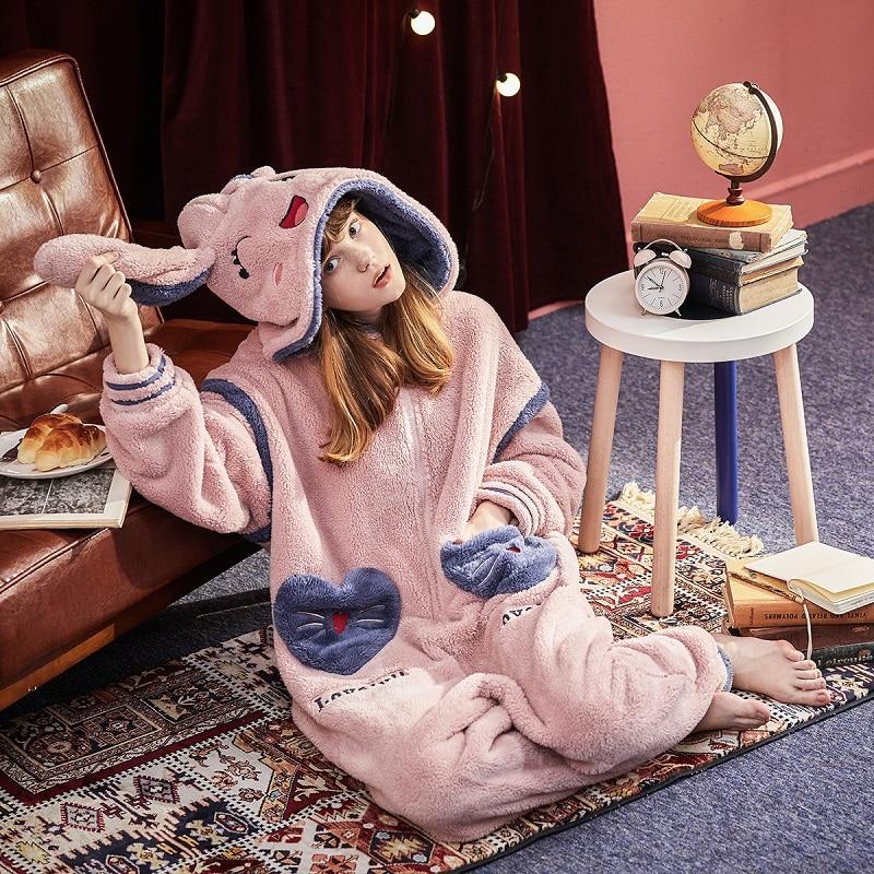 Warm Thicken Flannel  Cute Rabbit Women Stitch Sleepwear Animals Pajamas Long Sleeve Big Pocket Nightwear Xmas Gift Plus Size
