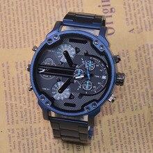 Relógio masculino de quartzo, relógio de pulso automático com múltiplos fusos horários e data, relógio militar para homens, off road com movimento