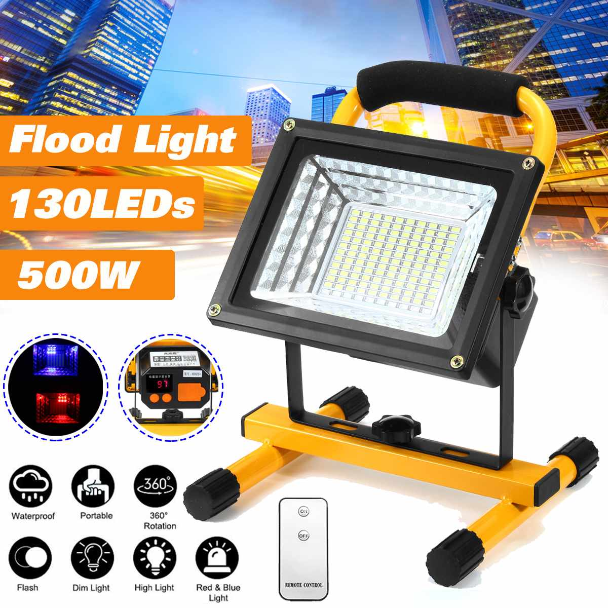 500W 130 LED Rechargeable Floodlight Waterproof Spot Work Camping Outdoor Handheld Work Lights  By 18650 Portable Lantern|Floodlights| |  - title=