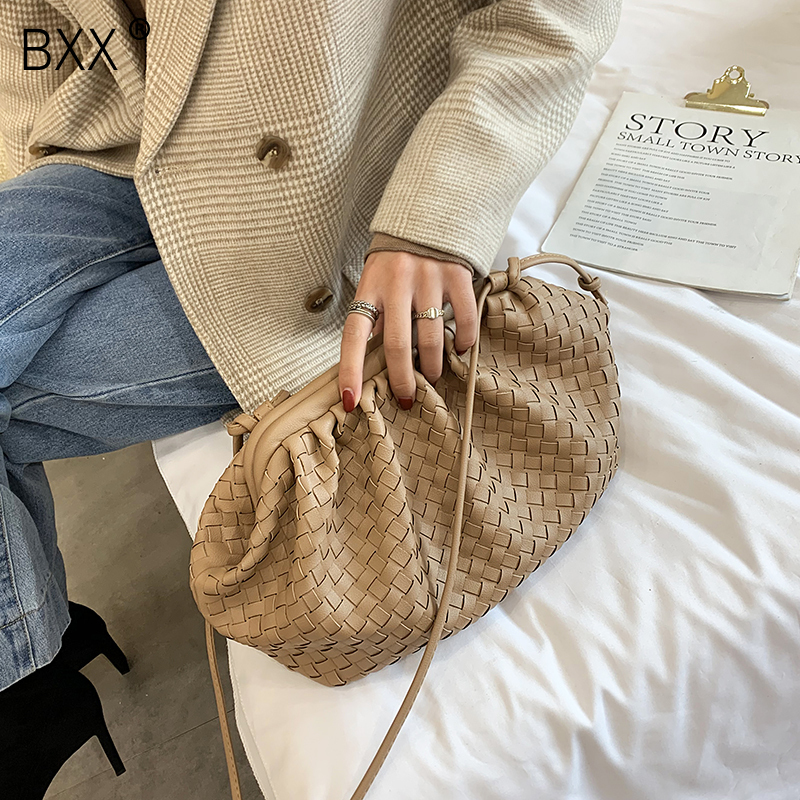 [BXX] PU Leather Weaving Crossbody Bags For Women 2020 Lady Designer Shoulder Messenger Bag Female Handbags Elegant Clutch HJ404