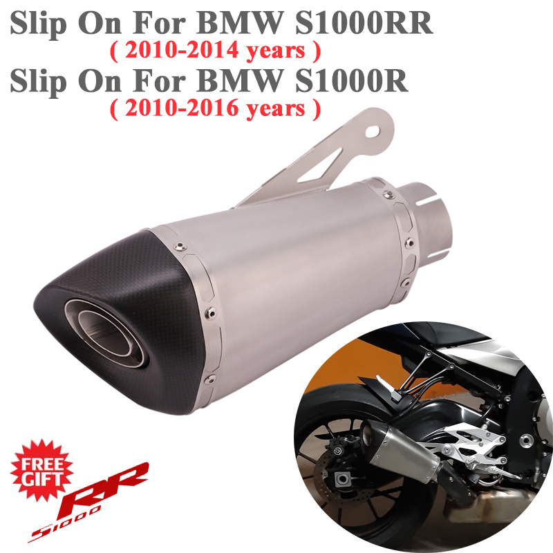 60MM Motorcycle Exhaust Slip on For <font><b>BMW</b></font> S1000R 2010 - 2016 S1000RR 2010 - 2014 Moto Muffler DB Killer Removable With <font><b>E</b></font>-mark Code image
