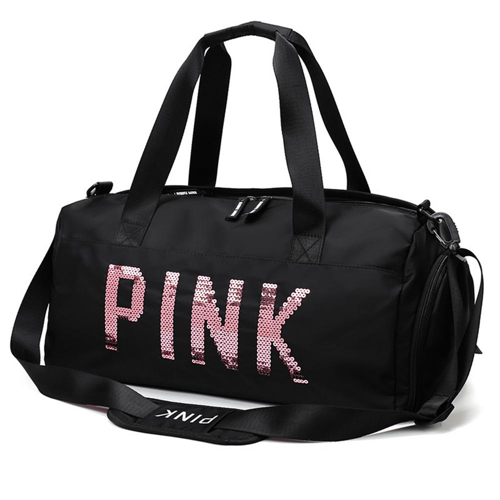 Gym Bag Nylon Large Capacity Dry Wet Separation Handbag Shoulder Messenger Bags Sequins PINK Letters Unisex Outdoor Sports Bag