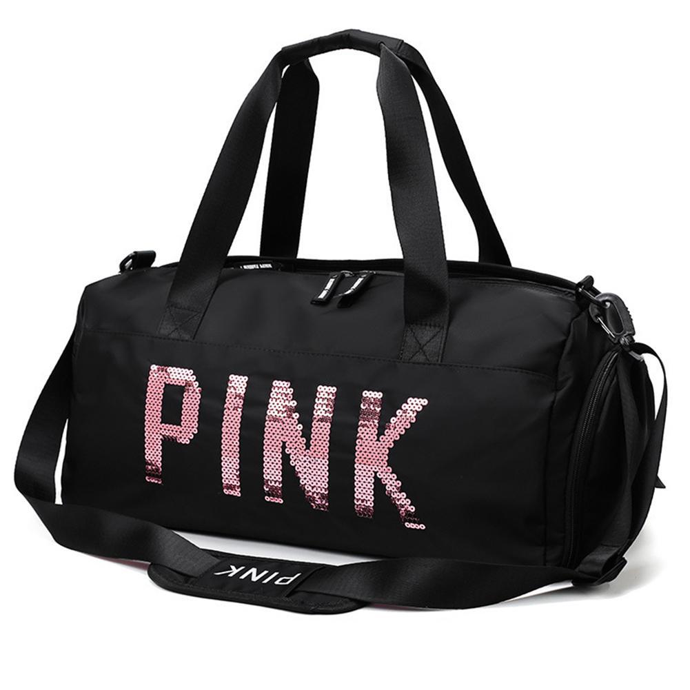 Gym Bag Nylon Large Capacity Dry Wet Separation Handbag Shoulder Messenger Bags Sequins PINK Letters Unisex Outdoor Sports Bag