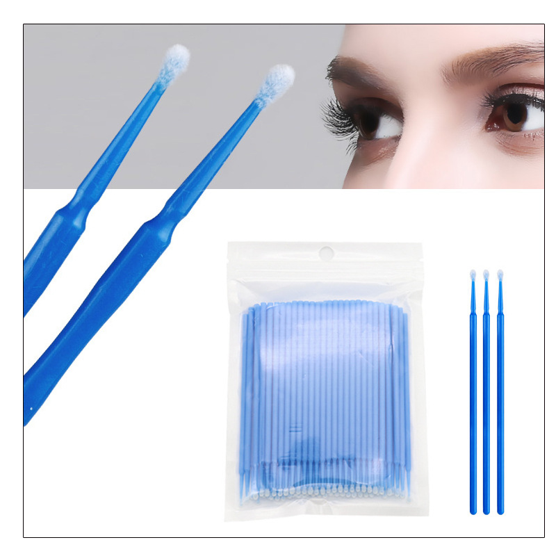 ANGNYA 100PCS Disposable Cotton Swab Pink Blue False Eyelash Extension Grafting Tools Swab Bendable Eye Lashes Curl Makeup Tools