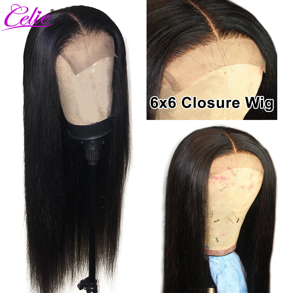 Celie Straight 6x6 Lace Closure Wig Human Hair Wigs 180 Density Brazilian Human Hair Lace Wigs Innrech Market.com