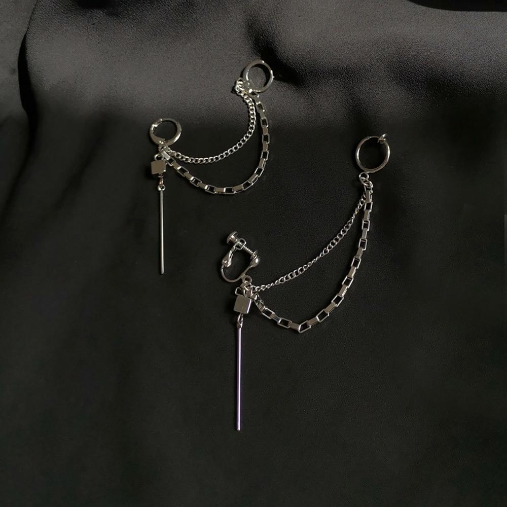 Creative Personality Hip-Hop Punk Wind Earrings Chain Type A Word Tassels Eardrop Women Jewelry Gifts