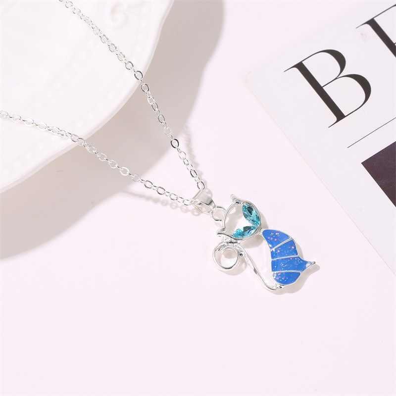 لطيف الأزرق القط قلادة قلادة العصرية صغيرة القط حيوان أليف سلسلة طويلة قلادة للنساء فتاة حلية مجوهرات هدية عيد ميلاد