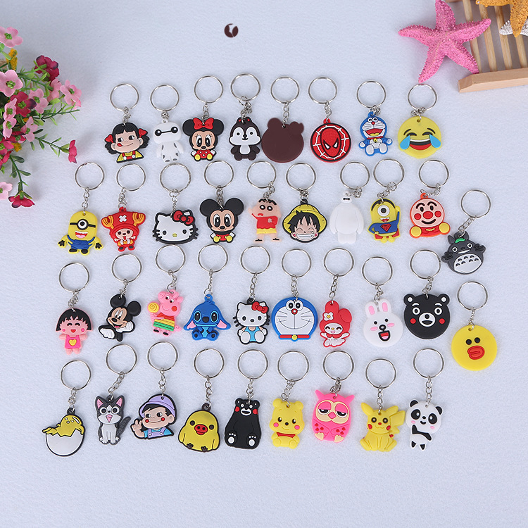 Cute Silicone Anime Keychain Girls Cartoon Mickey Bear Key Chain Women Porte Clef Minne Party Wedding Gifts Jewelry Accessories image