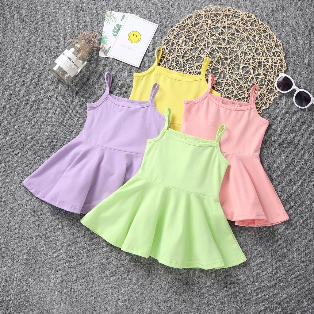 2019 verão novo algodão bebê meninas estilingue vestido crianças estilo casual roupas da menina do bebê crianças princesa vestidos de aniversário sem mangas