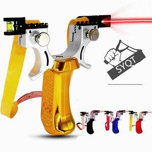 Image 2 - Новая Рогатка SYQT с лазерным прицеливанием, четыре цвета на выбор, Рогатка большой мощности для охоты, Рогатка с плоским кожаным ремешком