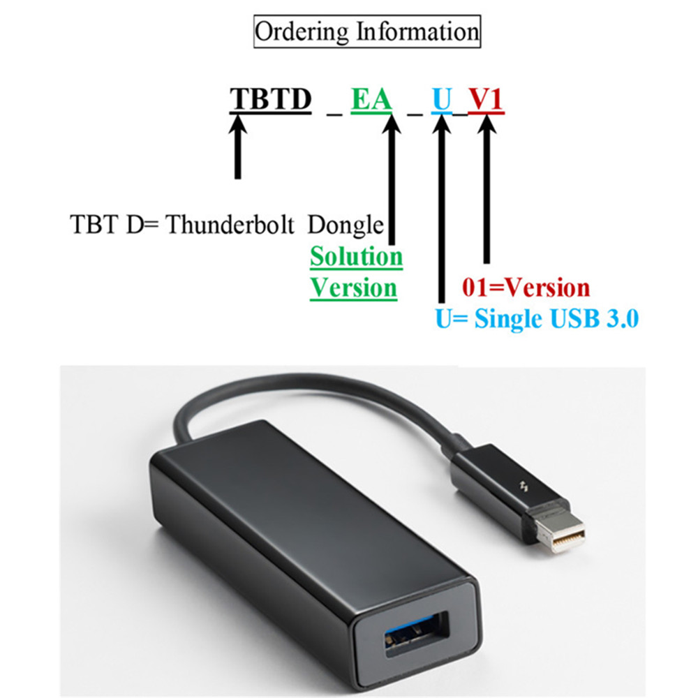 Convert Thunderbolt 2 To USB3.0 Adapter 15cm Cable TBT 20M Single Port USB3.0A Female Connector Dongle For PCs Computer Laptop