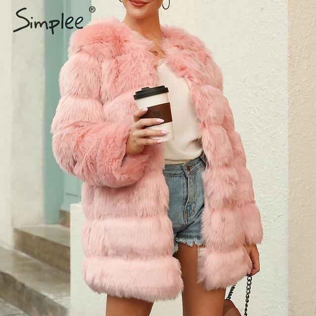 Simplee Elegant fluffy women faux fur coat Thick autumn winter female long warm coats Luxurious pink ladies outwear overcoats