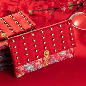 Estilo chinês brocado moeda bolsa bolsa jóias presente saco bordado organizadores bolso para o festival de casamento presente das crianças ano novo
