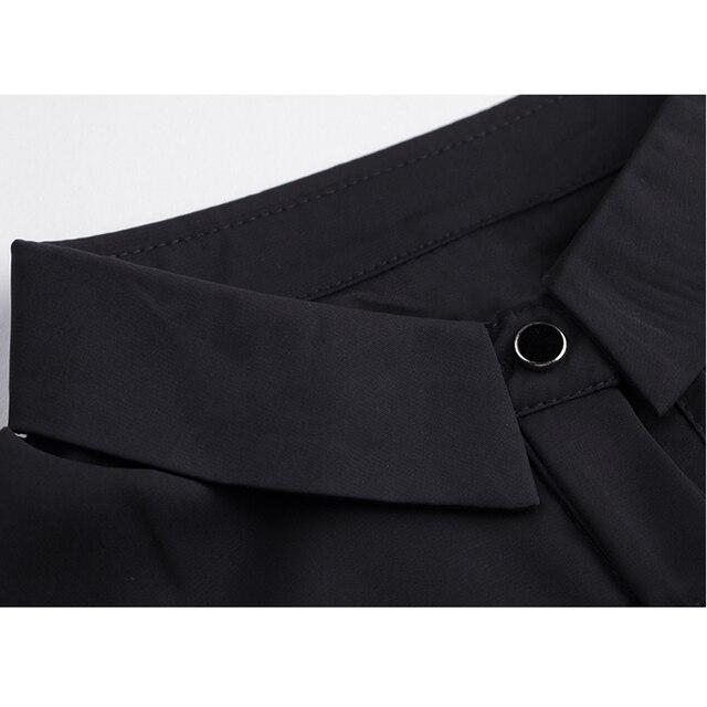 DIMANAF Plus Size Dress Women Clothing Summer Mesh Plaid Spliced Loose Female Office Lady Sundress Vestidos Black Shirt Dress 6