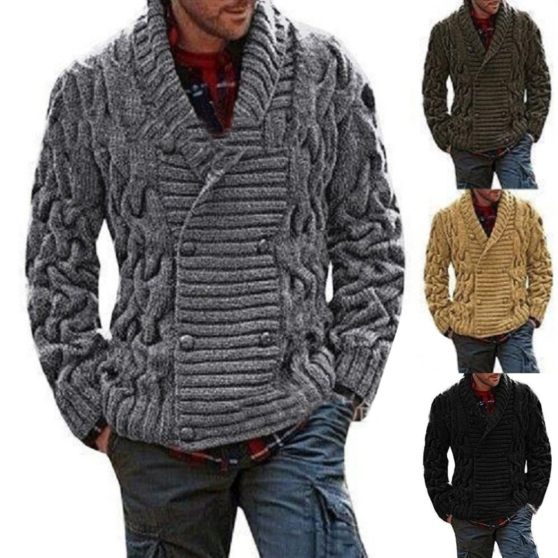 ZOGAA 2019 Winter Men's Warm Sweaters Thicken Solid Twist Sweaters Casual Warm Knitting Double-breasted Jumper Male Sweaters