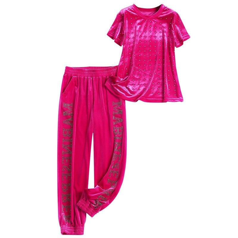 Летний женский Бархатный спортивный костюм из 2 предметов, футболка с бусинами и штаны, комплект одежды для вечеринки знаменитостей, комплект уличной одежды, 2020 Спортивные костюмы      АлиЭкспресс