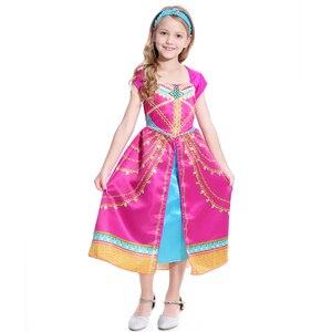 Image 2 - Movie Girls Kid Summer Jasmine Princess Dance Dress Children Aladdin Halloween Party Performance Costume Top Skirt Pant Set