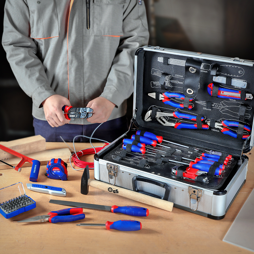 Купить с кэшбэком WORKPRO 119PC Aluminum Tool box Set Household Tool Set Hand Tools Screwdriver Set Wrenches Pliers