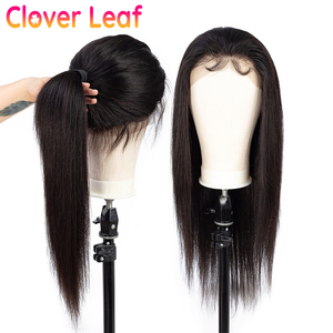 Image 4 - Clover Leaf 360 Lace Wig Remy 13X4 Straight Lace Front Wig Malaysia Straight Human Hair Wigs 4X4 Closure Wig Pre Plucked
