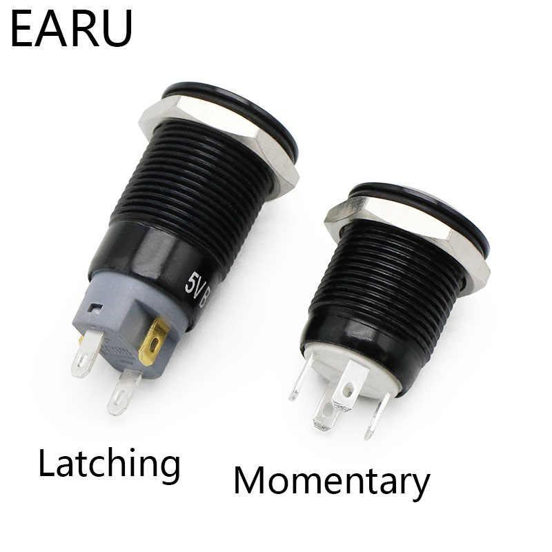 12mm Oxidierten Schwarz Hohe Kopf Wasserdichte Metall Push Button Switch LED Licht Momentary Rast Auto Motor PC Power Schalter 3-380V