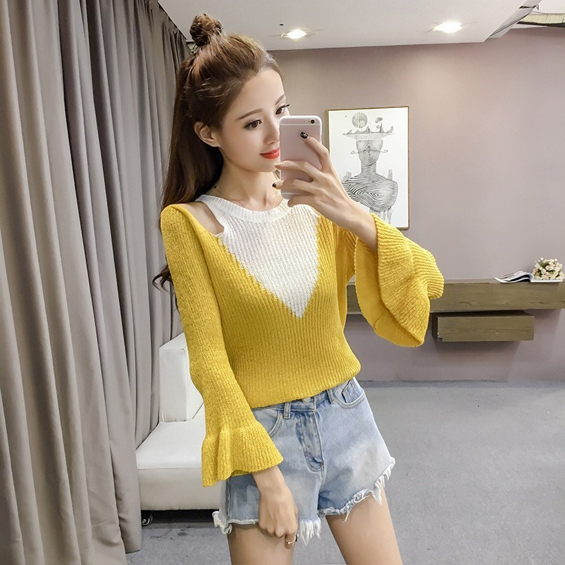 Tide Vogue Women Cold Shoulder Casual Sweaters Patchwork O-Neck Knitted Pullovers Fashion Autumn Flare Sleeve Slim Tops