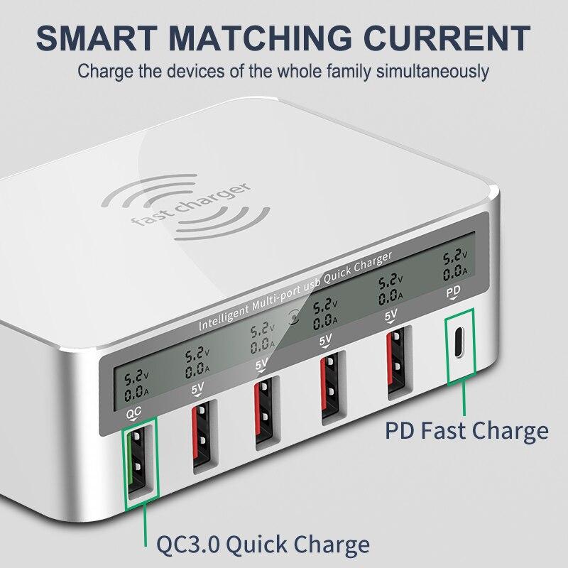 IHaitun 100W sans fil PD Type C QC3.0 USB chargeur LED affichage Station de quai rapide voyage Charge rapide 3.0 QC 4.0 pour iPhone 11 Pro - 3