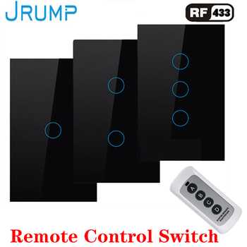 цена на US Standard Remote Touch Switch, Wall Light Remote Touch Switch With Mini Remote Controller Switch Smart Light Switch1/2/3-Gang