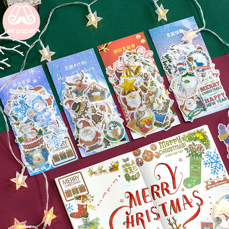 Mr.paper 60Pcs/pack Merry Christmas Santa Claus Stickers White Snowman Loving Christmas Song Deco Children Stationery Stickers image