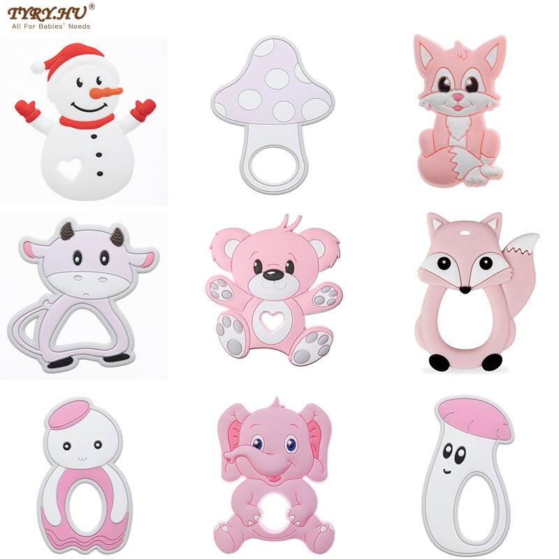Tyry. hu 1pc silicone mordedores bpa bonito livre para o bebê dentição brinquedos bebê dentição roedor para enfermagem colar brinquedos da criança