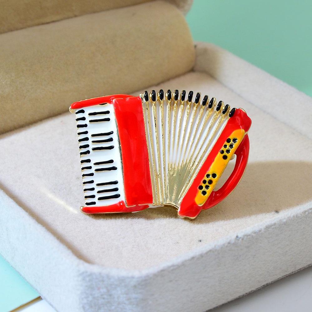 Accordion Enamel Brooch Musical Instrument Brooch Pin