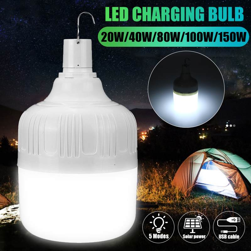 20W/40W/80W/100W/150W 5 Modes Rechargeable USB LED Bulb Lamp Solar Charge Emergency Night Market Light Outdoor Camping Home