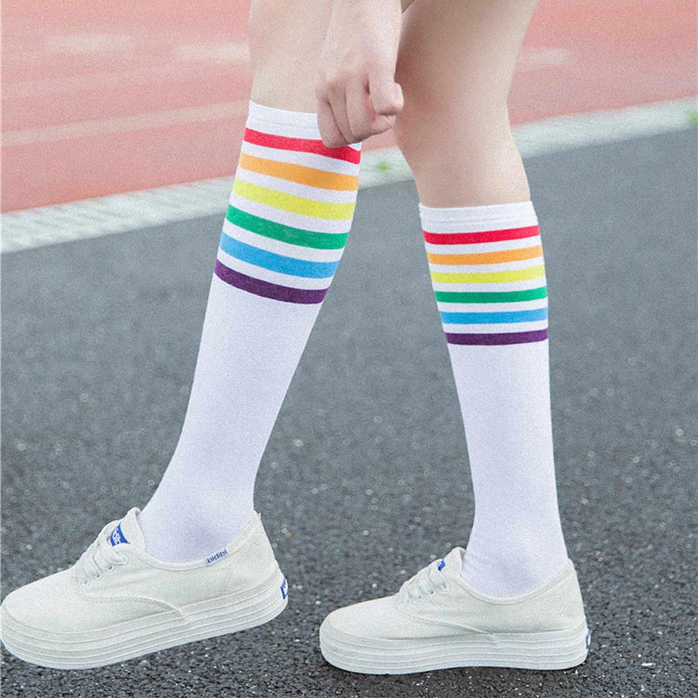 Coxa Alta Meias Sobre O Joelho longas meias calcetines Rainbow Stripe Meninas Esporte Futebol Socks Black White носки гольфы