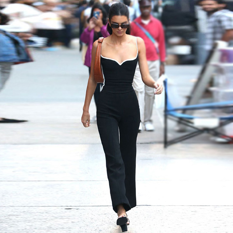 Kendall Jenner Style Women 2 Piece Set Sexy V-neck Camisole Tank Tops With Black Slim Elastic Bell-bottom Trousers Long Pants