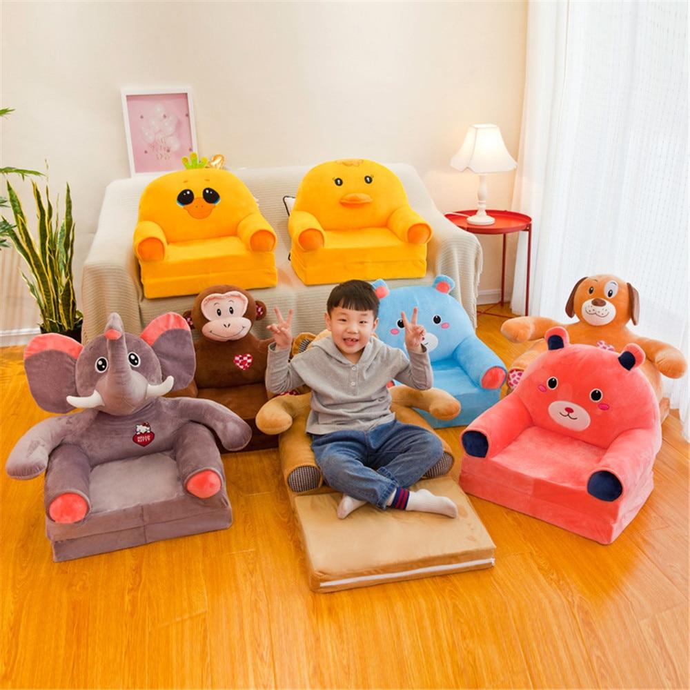 Crianças do bebê apenas cobrir sem enchimento dos desenhos animados coroa assento crianças cadeira puro puff pele da criança capa para o sofá dobrável